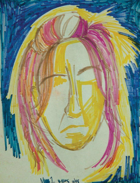 Primary Colors Drawing - Penn Face by Mike Manzi