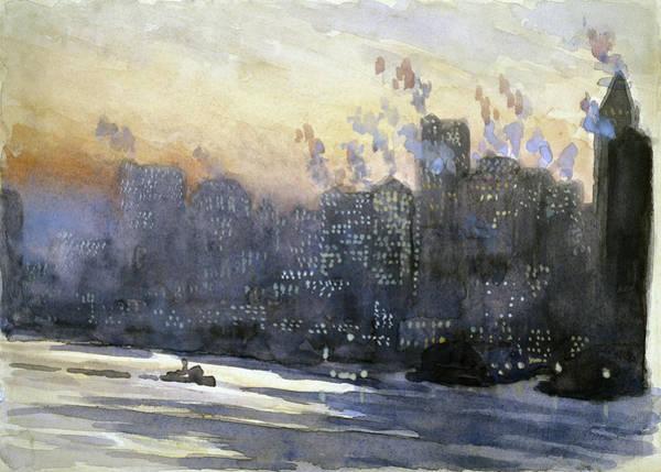 Manhattan Skyline Painting - Pennell New York City, 1924 by Granger