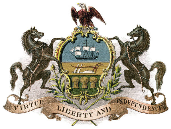 Wall Art - Painting - Pennsylvania Coat Of Arms by Granger