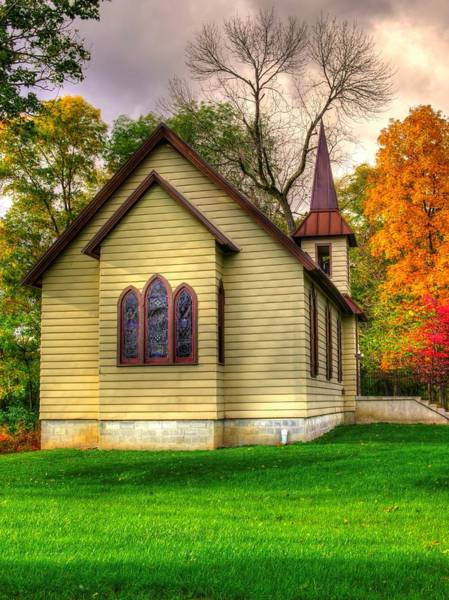 Wall Art - Photograph - Pennsylvania Country Churches - Heckton Church At Fort Hunter Autumn - Dauphin County by Michael Mazaika