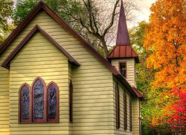 Rockville Photograph - Pennsylvania Country Churches - Heckton Church At Fort Hunter Close1 Autumn - Dauphin County by Michael Mazaika