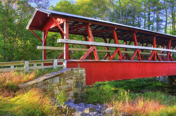 Wall Art - Photograph - Pennsylvania Country Roads - Colvin Covered Bridge Over Shawnee Creek - Autumn Bedford County by Michael Mazaika