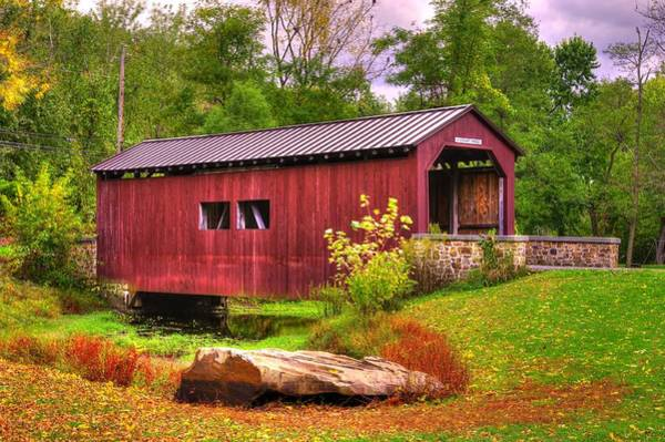 Wall Art - Photograph - Pennsylvania Country Roads - Everhart Covered Bridge At Fort Hunter - Harrisburg Dauphin County by Michael Mazaika