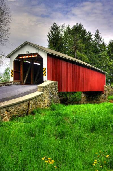 Wall Art - Photograph - Pennsylvania Country Roads - Forry's Mill Covered Bridge - Lancaster County Spring No. 2 by Michael Mazaika