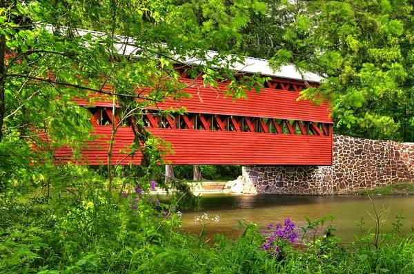 Wall Art - Photograph - Pennsylvania Country Roads - Sachs Covered Bridge Over Marsh Creek-3b - Shade Of Spring Adams County by Michael Mazaika