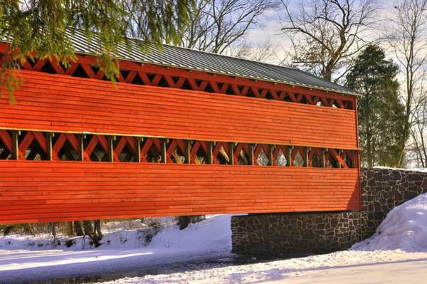 Wall Art - Photograph - Pennsylvania Country Roads - Sachs Covered Bridge Over Marsh Creek - Adams County Winter by Michael Mazaika