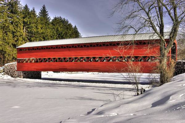 Wall Art - Photograph - Pennsylvania Country Roads - Sachs Covered Bridge Over Marsh Creek B1 - Adams County Winter by Michael Mazaika