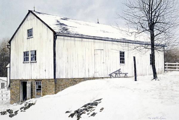 Barn Snow Painting - Pennsylvania Dutch by Tom Wooldridge