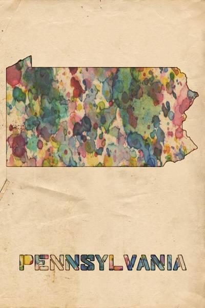 Painting - Pennsylvania Map Vintage Watercolor by Florian Rodarte