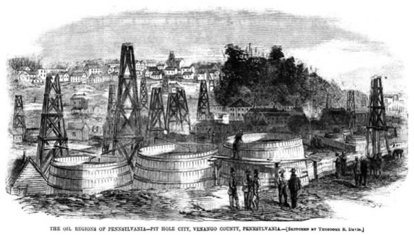 Petroleum Drawing - Pennsylvania Oil, C1865 by Granger