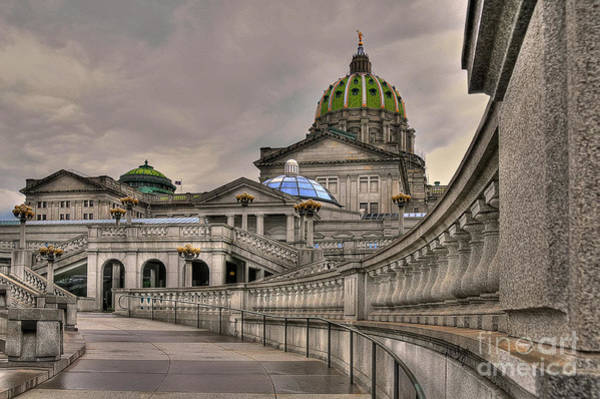 Wall Art - Photograph - Pennsylvania State Capital - Textured by Lois Bryan