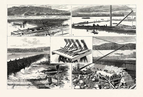 Ohio River Drawing - Pennsylvania The New Government Work At Davis Island Dam by American School