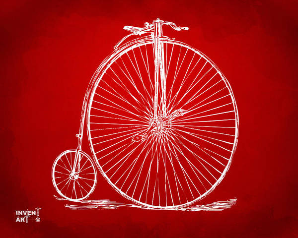 Wall Art - Digital Art - Penny-farthing 1867 High Wheeler Bicycle Patent Red by Nikki Marie Smith