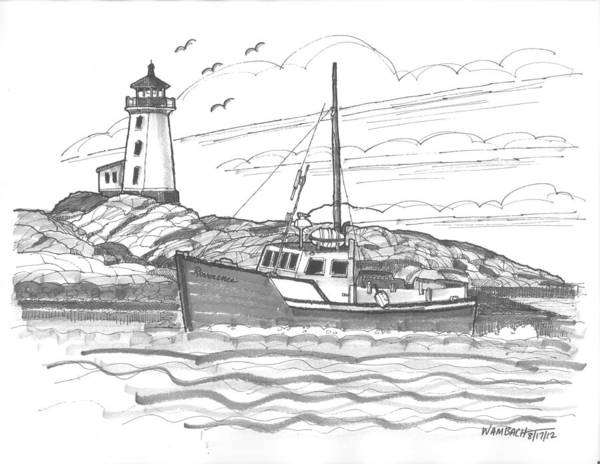 Drawing - Peggy's Cove Lighthouse Nova Scotia by Richard Wambach