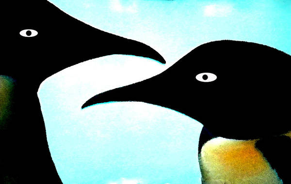 Art Print featuring the painting Penquin Love by Colette V Hera  Guggenheim