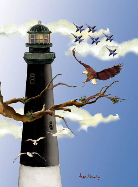 Painting - Pensacola Light House Tower by Anne Beverley-Stamps