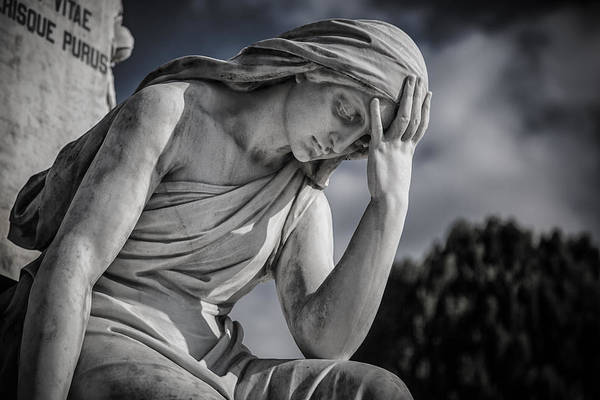Cementery Photograph - Pensive Angel At Heredia Cemetery by Andres Leon