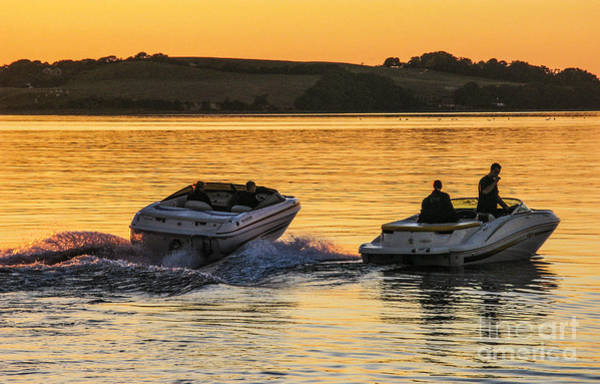 Wall Art - Photograph - Fast Boats After Sunset by Kim Lessel