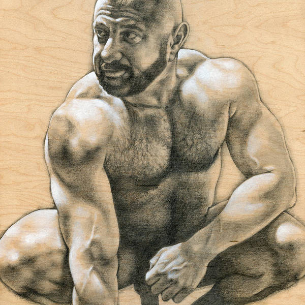 Male Nude Drawing - Penumbra 2 by Chris Lopez