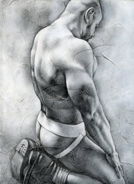 Male Nude Drawing - Penumbra by Chris Lopez