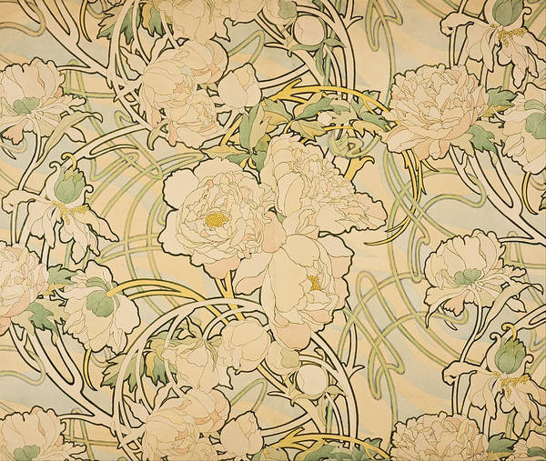 Alfons Mucha Painting - Peonies by Alfons Mucha