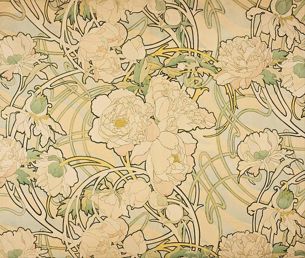 Alphonse Mucha Painting - Peonies by Alphonse Mucha