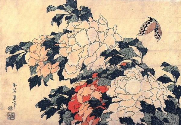 Hokusai Wave Wall Art - Painting - Peonies And Butterfly by Philip Ralley