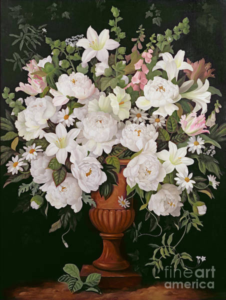 Bunch Painting - Peonies And Wisteria by Lizzie Riches