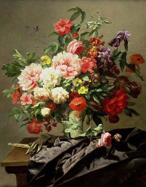 Wall Art - Painting - Peonies, Poppies And Roses, 1849 by Henri Robbe