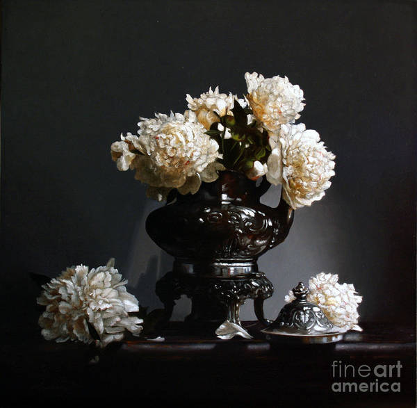 Wall Art - Painting - Peonies With Silver Coffee Pot by Lawrence Preston