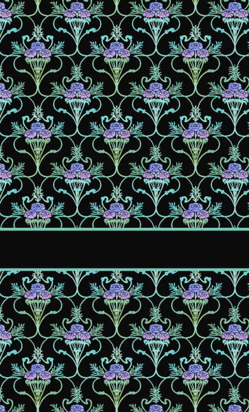 Teal Mixed Media - Peony Damask On Black by Jenny Armitage