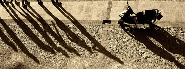 Contrasts Photograph - People And Motorcycles Shadows by Okeyphotos