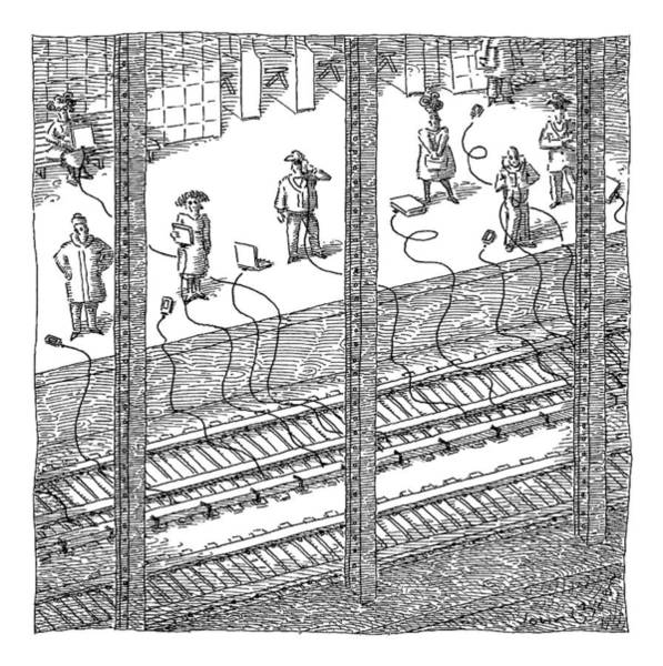Subway Drawing - People Are Charging Computers And Phones Via by John O'Brien