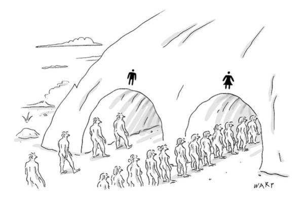 Cave Drawing - People Are In Line At Two Tunnels Going by Kim Warp
