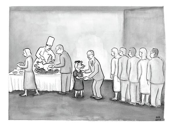 Pig Drawing - People Are In Line To Be Served Portions by Paul Noth