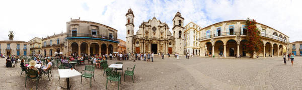 Sidewalk Cafe Photograph - People At Plaza De La Catedral by Panoramic Images
