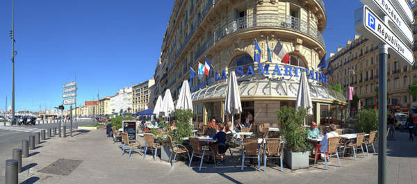 Brasserie Wall Art - Photograph - People At Sidewalk Cafe, Marseille by Panoramic Images