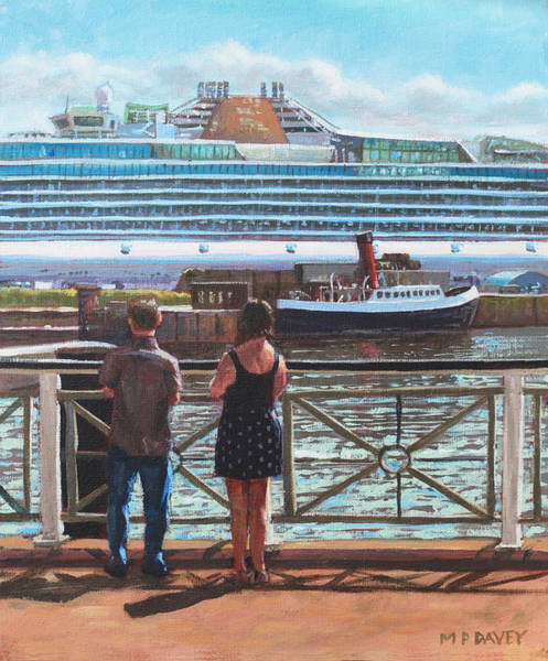 Wall Art - Painting - People At Southampton Eastern Docks Viewing Ship by Martin Davey