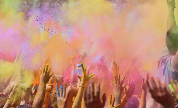 Holi Photograph - People Celebrating The Holi Festival In by Artur Debat