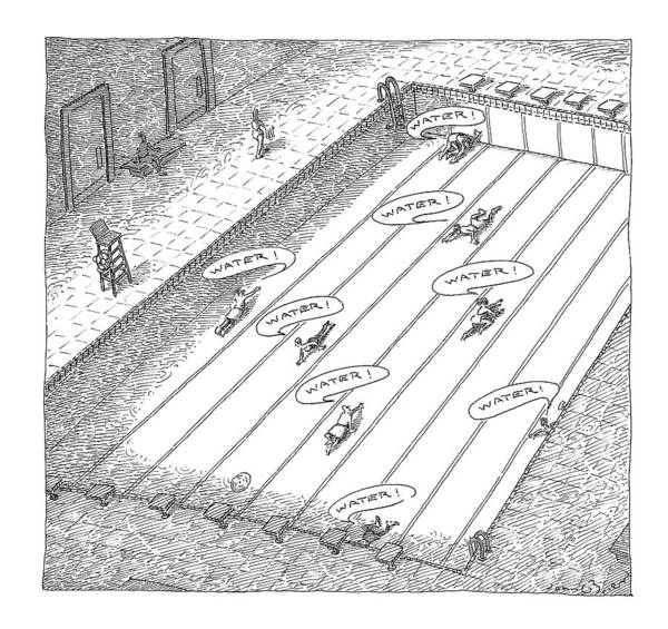 Pool Drawing - People Crawl Along The Bottom Of An Empty by John O'Brien