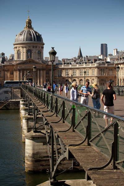 People Walking Photograph - People Crossing River Seine Walking by John Sones Singing Bowl Media