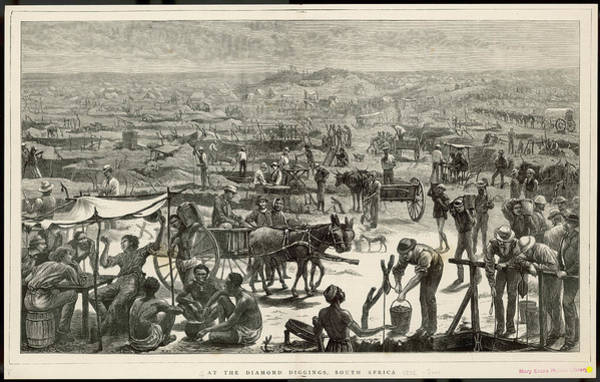 Wall Art - Drawing - People Digging For Diamonds In South by  Illustrated London News Ltd/Mar