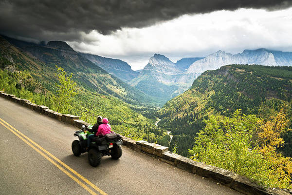 Four Wheeler Photograph - People Driving Through Glacier National by Rob Hammer