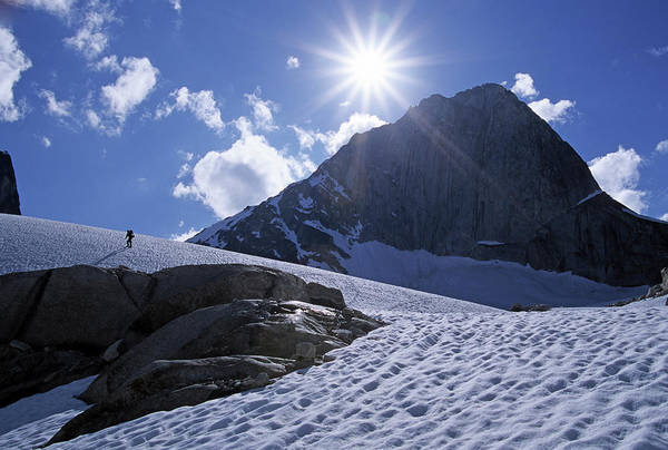 Bugaboo Photograph - People Hiking To Climb In Snowy Alpine by Heath Korvola