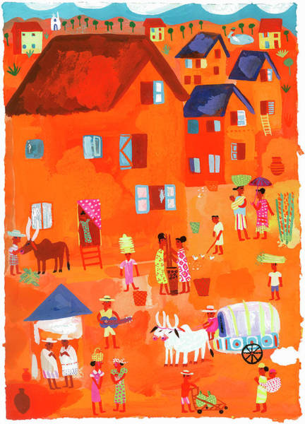 Wall Art - Photograph - People In Traditional Village Scene by Ikon Ikon Images