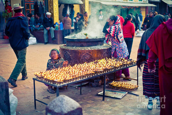 Photograph - People Near Boudhanath Stupa At Morning by Raimond Klavins