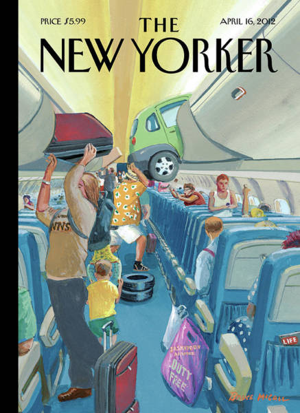 Painting - People On An Airplane Putting Various Items by Bruce McCall
