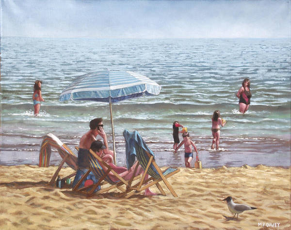 Painting - People On Bournemouth Beach Parasol by Martin Davey