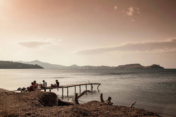 Elba Photograph - People On Jetty, Portoferraio, Elba by Cultura Rm Exclusive/walter Zerla