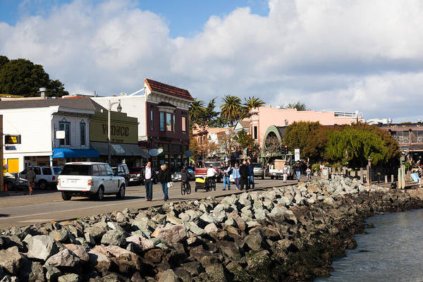 Sausalito Wall Art - Photograph - People On The Bridgeway Street by Panoramic Images